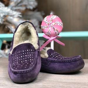 UGG Purple Diamond Suede Leather Loafers Sheepskin